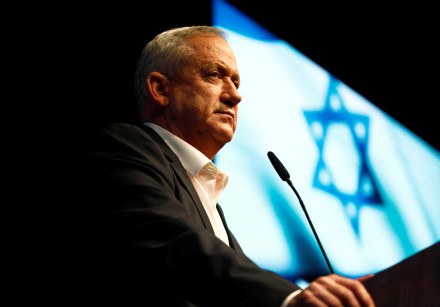 Benny Gantz, leader of Blue and White party, speaks during an election campaign rally in Ramat Gan,