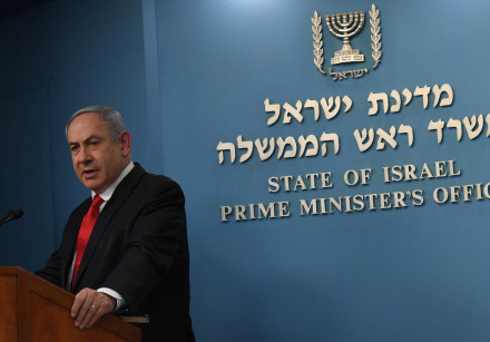 Prime Minister Benjamin Netanyahu addresses the press about the coronavirus outbreak, March 8, 2020