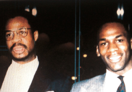 A young Gene Banks (left) poses with Michael Jordan (right) while both were in the NBA with the Chic