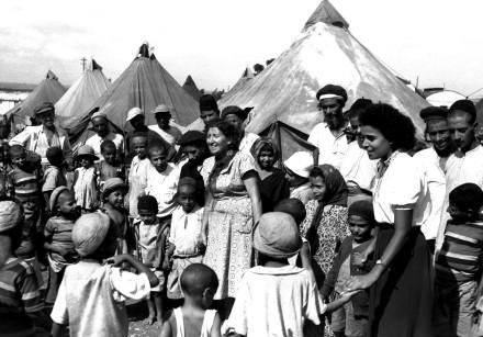 YEMENITE JEWS near their tents in Israel in 1949.