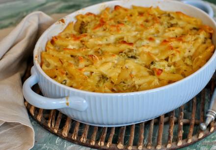 Penne, cheese, broccoli and pea quiche