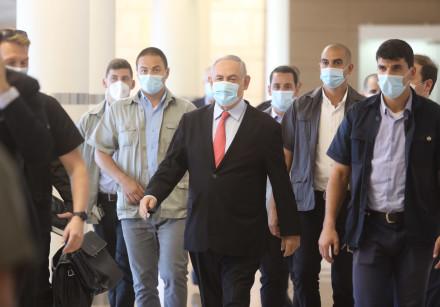 Prime Minister Benjamin Netanyahu wearing a medical mask amid coronavirus pandemic