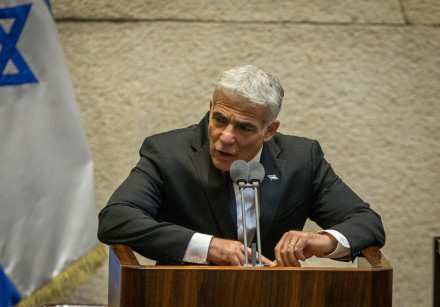 MK Yair Lapid speaks during a Knesset plenary session at the Knesset, the Israeli parliament in Jeru