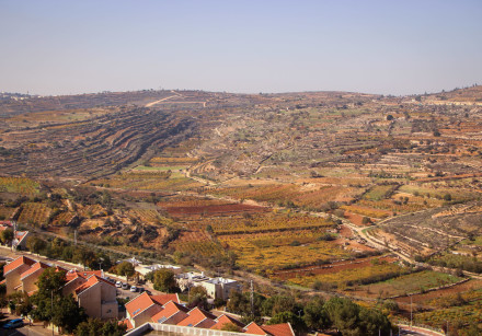 View of the Jewish settlement of Efrat and the surrounding fields, in Gush Etzion, West Bank, on Dec
