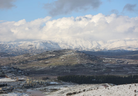 View of Mount Hermon covered with snow as it seen from the northern Golan Heights, near the border w
