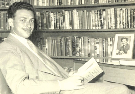 Isi Leibler in his library in 1953