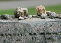 STONES on a tomb in a Jewish cemetery in Vilnius.