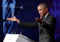 Former US President Barack Obama delivers a speech