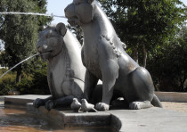 Lions Fountain in Yemin Moshe neighborhood of Jerusalem.