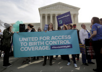 Supporters of contraception rally in Washington DC.