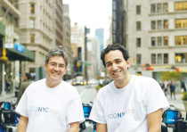 ISRAELI START-UP incubator co-founders Arie Abecassis (left)and Eval Bino pose outside their office
