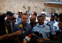 Israel's Public Security Minister Gilad Erdan (3rd L) and police commissioner Roni Alsheich (3rd R)