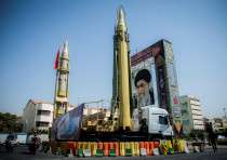 A display of missiles and a portrait of Supreme Leader Ayatollah Ali Khamenei in Tehran