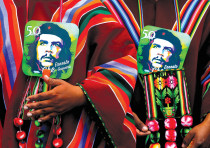 Images of Ernesto 'Che' Guevara at a ceremony commemorating the Argentinean revolutionary's death in
