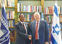 President Reuven Rivlin with Zion Church Bishop Barnabas Lekganyane in Jerusalem, October 2017