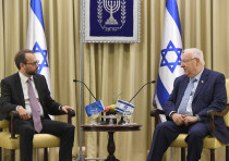 President Reuven Rivlin and European Union Ambassador Emanuele Giaufret, October 23, 2017.