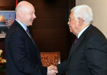 US President's envoy to the Middle East Jason Greenblatt meeting with PA leader Mahmud Abbas