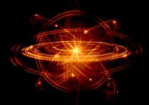 Concept image of an atom and electrons