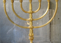 A reconstruction of the Temple's menorah, created by the Temple Institute in the Old City's Jewish Q
