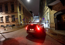 Police seen at the site of an attack near a synagogue in Gothenburg, Sweden December 9, 2017