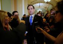Sen. Marco Rubio speaks with reporters in Washington in July