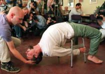 actors demonstrate the Israeli Shin Bet torture method known as