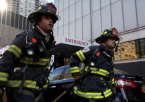 New York City firefighters (FDNY) at the scene of a fire at NYU Medical Center in Manhattan, New Yor
