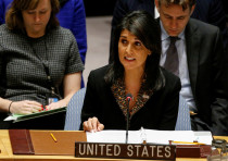 US Ambassador to the United Nations Nikki Haley speaks at the United Nations