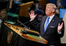 US President Donald Trump addresses the 72nd United Nations General Assembly at U.N. headquarters in