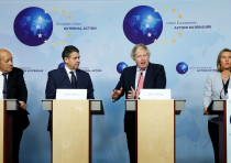 Britain's Foreign Secretary Boris Johnson attends a news conference with French Foreign Minister Jea