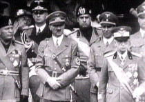 King Victor Emanuel III, (R) Adolf Hitler (C) and Benito Mussolini (L)
