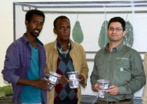 KKL-JNF's Omer Golan (right), with Mekelle University's Dr. Kiros Meles (left) and colleague, with b