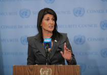 US Ambassador to the United Nations Nikki Haley speaks at UN headquarters in New York