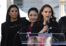 Natalie Portman speaks at the Women's Rally in Los Angeles, California