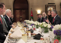 Jordanian King Abdullah II eats lunch with US Vice President Mike Pence in the capital Amman