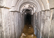 A general view of the interior of a cross-border attack tunnel dug from Gaza to Israel, near Kissufi