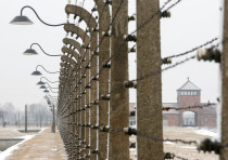 Birkenau concentration camp in Poland in the snow