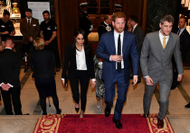 Britain's Prince Harry and his fiancee Meghan Markle arrive to attend the annual Endeavour Fund Awar