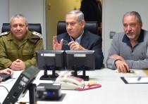IDF Chief of Staff Gadi Eisenkot, Prime Minister Benjamin Netanyahu and Defense Minister Avigdor Lib