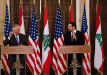 US Secretary of State Rex Tillerson and Lebanese Prime Minister Saad Hariri in Beirut, February 2018