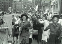 People celebrate the liberation of Denmark, in Copenhagen on May 5, 1945