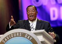 eligious leader Louis Farrakhan gives the keynote speech at the Nation of Islam Saviours' Day.