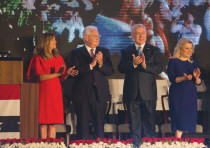 US Ambassador to Israel David Friedman (second left) and his wife Tammy (left) together with Prime M