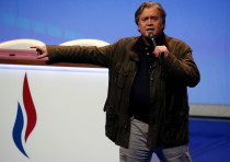 Fmr. White House Chief Strategist Steve Bannon attends the National Front party convention in France
