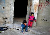 IMPOVERISHED CHILDREN in Gaza City's Shati refugee camp.