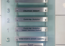 Labels indicate the location of the offices of Cambridge Analytica in central London