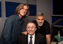 GEORGE CLOONEY, Rabbi Marvin Hier and Richard Trank pose for a photo in the recording booth
