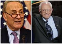 Senators Chuck Schumer (D-NY) (L) and Bernie Sanders (I-VT) (R).