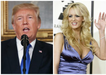 United States President Donald Trump (L) and adult film actress Stormy Daniels (R).
