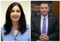 Culture Minister Miri Regev (L) and Knesset Speaker Yuli Edelstein (R).